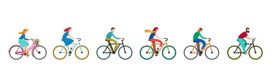 Des personnes qui bénéficient du FMD en se déplaçant au travail en vélo ou en vélo à assistance électrique (VAE).